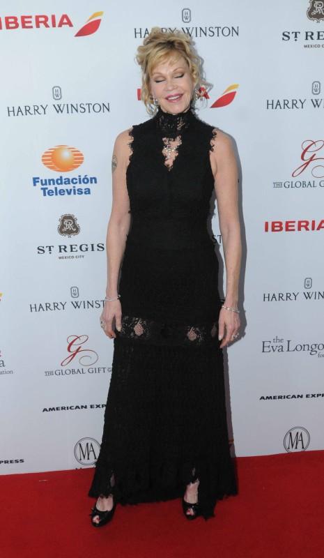 La esposa de Antonio Banderas, Melanie Griffith, llegó solita a la reinión.