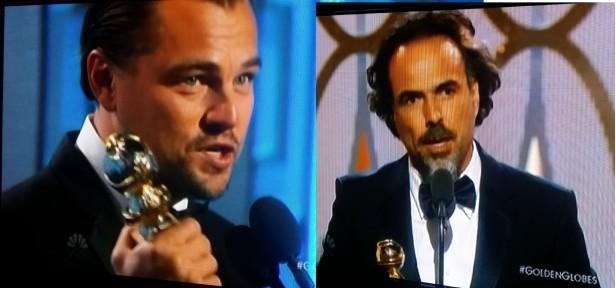 Leonardo DiCaprio y el cineasta mexicano Alejandro se alzaron con un Golden Globe cada uno por sus respectivos trabajos en la cinta 'The Revenant'.
