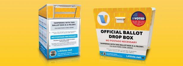 Buzones electorales en Union Station de Los Angeles para eleccion de destitucion del gobernador de CA